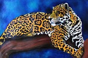 Jaguar Pastels Posters - Eyes of the jungle series Poster by Linda Weldon
