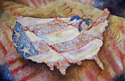 Red White And Blue Mixed Media - Faded Glory by Deborah Smith