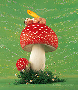 Down Photo Posters - Fairy on Toadstool Poster by Anne Geddes