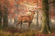 Fall Colors Digital Art Prints - Fall Buck Print by Daniel Eskridge