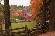 Sturbridge Village Framed Prints - Fall foliage over a red wooden home at Sturbridge village Framed Print by Jeff Folger