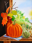 Squash Paintings - Fall Leaves Pumpkin Gourd by Irina Sztukowski