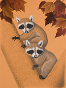 Jeanette Kabat - Fall Raccoons on Tree