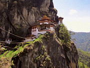 Tibetan Buddhism Paintings - Famous tigers nest monastery of Bhutan 12 by Lanjee Chee