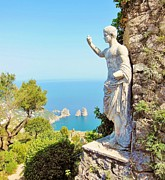 Roman Statue Prints - Faraglioni Rocks from Mt Solaro Capri Print by Marilyn Dunlap