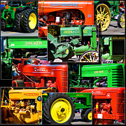 Coller Posters - Farm Tractor Collage Square Poster by Thomas Woolworth
