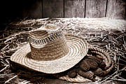 Dust Framed Prints - Farmer Straw Hat and Gloves Framed Print by Olivier Le Queinec