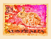 Postage Framed Prints - Faux Poste Bunny 3d Framed Print by Carol Leigh