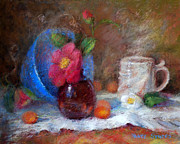 Featured Blue Bowl   Fine Art Print by Nancy Stutes