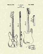 Rock And Roll Art Drawings - Fender Bass Guitar 1953 Patent Art  by Prior Art Design