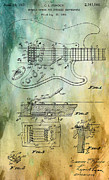 Fender Guitar Posters - Fender Tremolo Patent Poster by Nomad Art And  Design