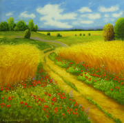 Color  Colorful Painting Prints - Field road Print by Veikko Suikkanen
