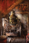 Retired Prints - Fireman - Steam Powered Water Pump Print by Mike Savad