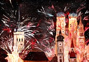 Fireworks Paintings - Fireworks in Munich by M Bleichner