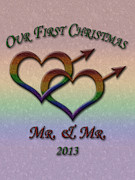 Queer Posters - First Christmas - Mr and Mr - Gay Pride Poster by Tavia Walker