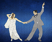 Black Tie Digital Art Posters - First Dance Poster by Janet Carlson
