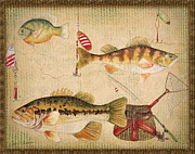 Fishing Flies Paintings - Fish Trio-A-Basket Weave Border by Jean Plout