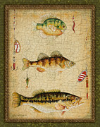 Fishing Flies Paintings - Fish Trio-C-Green by Jean Plout