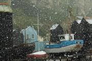 Parker Photos - Fishing Boats Covered With Snow In Old by Chris Parker