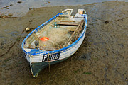 Dinghy Posters - Fishing Dinghy at Low Tide Poster by Louise Heusinkveld