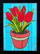 Jim Harris Framed Prints - Five Red Tulips Framed Print by Jim Harris
