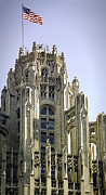 Neo Prints - Flag Flying High Tribune Tower Print by Julie Palencia