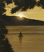 Sailboat Paintings - Flathead Sunset by John Wyckoff