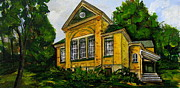 Abandoned School House. Painting Prints - Flesherton old school Print by Jennifer Stenberg
