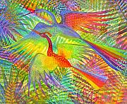 Exotic Painting Posters - Flight of Colour and Bliss Poster by Jennifer Baird
