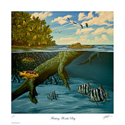 Ballyhoo Posters - Floating Florida Bay Poster by Philip Slagter