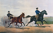 Horse Racing Painting Prints - Flora Temple and Lancet racing on the Centreville Course Print by Currier and Ives