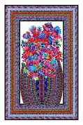 Kaleidoscopic Painting Originals - Floral Embroidery by Lawrence Chvotzkin