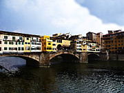 Yellow Reflections Framed Prints - Florence Italy Ponte Vecchio Framed Print by Irina Sztukowski
