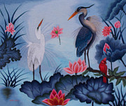 Heron Tapestries - Textiles Framed Prints - Florida Beauty hand embroidery Framed Print by To-Tam Gerwe