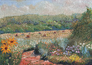 Bales Paintings - Flowers and Hay by William Killen