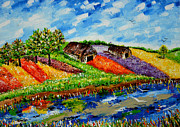 Cloudy Day Paintings - Flowers Farm by Johnson Moya