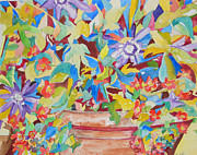 Impressionism Acrylic Prints Art - Flowers in Symphony by Esther Newman-Cohen