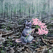 Mouse Art - Flowers on a Rainy Day by Beth Davies