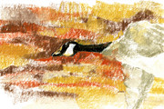 Canadian Geese Pastels - Flying through a canyon by Richard Gage