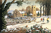 Christmas Card Painting Metal Prints - Focus on Christmas Time Metal Print by Ronald Lampitt