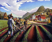 Folk Art Landscapes Framed Prints - folk art farm country landscape Cultivating Peas scene americana American life Framed Print by Walt Curlee