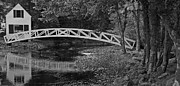 Somesville Maine Prints - Footbridge in Black and White Print by Paul Mangold