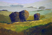Abstracted Painting Posters - Foothills Landscape Poster by Nancy Merkle