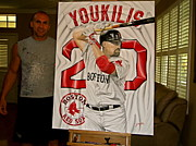 Red Sox Paintings - FOR SALE   YOUKILIS  Original Painting  by Sports Art World Wide John Prince