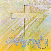 Sun Rays Painting Posters - For The Cross Poster by Cassie Sears