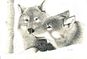 Pencil Drawings Drawings Framed Prints - Forever Wolf Love-The Greeting Framed Print by Joette Snyder