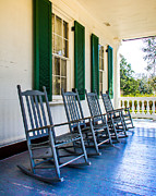 Rocking Chairs Digital Art Prints - Four Porch Rockers Print by Perry Webster