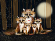 Fox Digital Art - Fox Family by Karin Taylor