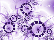 Clocks Digital Art Framed Prints - Fractal Purple Clocks Framed Print by Gabiw Art