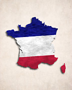 France Map Prints - France Map Art with Flag Design Print by World Art Prints And Designs